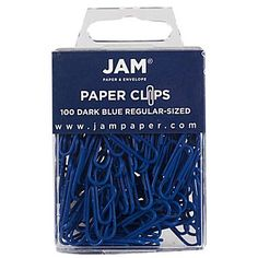 JAM Paper® Colored Standard Paper Clips, Small, Dark Blue Paperclips, 100/pack…