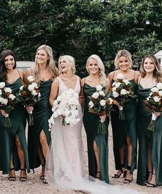 Online shopping for Spaghetti Straps Dark Green Split Side Bridesmaid Dresses for Wedding Party. Find out what's hot and new from our online store. Olive Green Bridesmaid Dresses, Bridesmaid Dress Colors, Wedding Bridesmaid Dresses, My Perfect Wedding, Dream Wedding, Olive Green Weddings, Spring Wedding Colors, Spring Weddings, Maid Of Honor
