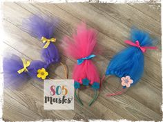 Trolls Inspired Headbands, Girls Head bands, Troll Costumes, Poppy Headband, Trolls Halloween, Trolls Dress up, Trolls Birthday Party by 805Masks on Etsy