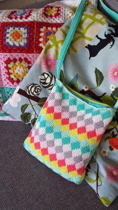 ♥ Haken ♥ : Patroon harlekijn tas / Pattern harlequin bag, haken, gratis patroon, Nederlands