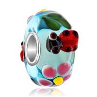 Spring Lady Bug Flower Blue Fit All Brands Murano Glass Beads Charms Brace...