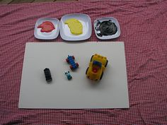 Painting with trucks, EZ will love this!  Lots of fun activities for ages 1 to 3 on this website!!!