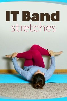 Fitness IT Band stretches you can do to find relief and prevent ongoing issues while running - See 5 IT Band Stretches that are easy to add to your post run routine or do while watching TV. Great for every runner with a tight IT Band or in recovery It Band Stretches, Stretches For Runners, Yoga For Runners, Hip Stretching Exercises, Runner Yoga, Hip Flexor Exercises, Foam Roller Exercises, Scoliosis Exercises, Knee Stretches