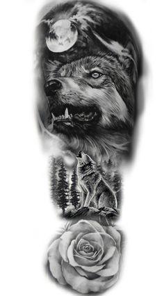 Wolf Tattoos Men, Tribal Arm Tattoos, Cool Arm Tattoos, Best Sleeve Tattoos, Tattoo Sleeve Designs, Animal Tattoos, Black Tattoos, Hand Tattoos, Wolf Sleeve