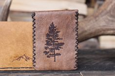 Rustic Leather Card Holder Wallet by Willow Creek Leather Co.
