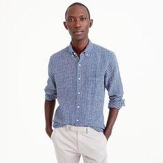 men's irish linen shirt in check - men's shirts