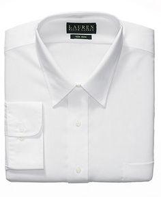 Lauren by Ralph Lauren Mens Dress Shirt, White Solid - Mens Dress Shirts - Macy's