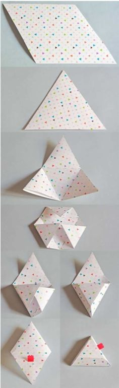 Origami triangle box with attached lid. Looks like it starts with a diamond made from two equilateral triangles. I haven't tried this yet.