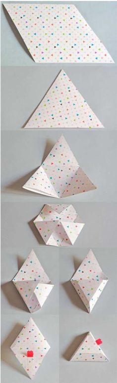 New Origami Cajas Triangulares Ideas Box Origami, Origami Paper Folding, Origami And Kirigami, Oragami, Art N Craft, Craft Box, Envelopes, Diy Paper, Paper Crafts