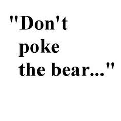"""Poking the bear"" is a favorite tactic used by narcissists to needlessly anger, upset, or annoy their victims in hopes to lure them into an argument they can not win. Daily Quotes, True Quotes, Everyday Quotes, Dont Poke The Bear, The Bear Family, Goldilocks And The Three Bears, Love Bears All Things, Urban Dictionary"