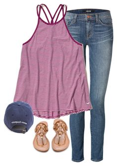 """""""Untitled #1111"""" by southernstruttin ❤ liked on Polyvore featuring Tory Burch, J Brand and Hollister Co."""