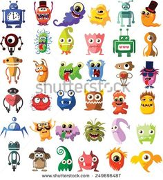 Large vector set of drawings of different characters isolated monsters, robots, germs, bacteria, aliens and other Halloween characters for your design, prints and banners