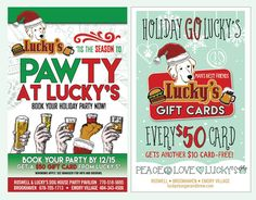 Got an office party? Team party? Friends & Family Gathering? Ladies Night? Guys Football? Whatever. Whenever. We've got you COVERED at Lucky's Burger & Brew Brookhaven! Book your Holiday PAW-TY NOW – Get a $50 Lucky's Gift Card when you book by Dec.15! Party's 10 or more. See manager for menu and booking #partygoLuckys #holidayparty #PAWTYatLuckys www.luckysburgerandbrew.com Atlanta Eats Buckhead SNOBS Brookhaven Post Town Brookhaven