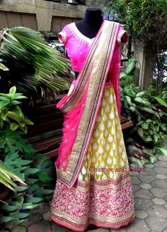 Daffodil Yellow and Pink Lehenga    For more details, please share your email address or write to us at chameeandpalak@gmail.com