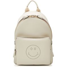 Anya Hindmarch Mini Smiley Leather Backpack ($1,130) ❤ liked on Polyvore featuring bags, backpacks, beige, mini bag, leather backpack, leather knapsack, mini rucksack and striped backpack