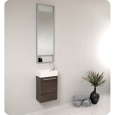 "Found it at AllModern - Senza 16"" Single Pulito Small Modern Bathroom Vanity Set with Mirror"
