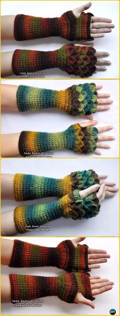 Crochet Long Dragon Scale Gloves Paid Pattern - Crochet Dragon Scale Crocodile Stitch Gloves Patterns