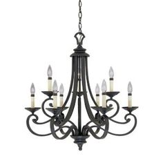 Designers Fountain, Monte Carlo 9-Light Hanging Natural Iron Chandelier, HC0367 at The Home Depot - Mobile