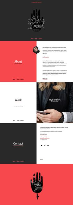melaniedaveid.com | Really nice responsive site. UX Design and Art Direction. Shows project overview, sketch wireframes and user flows. Zeroes in on UI components then UX components.
