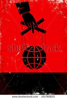 Red and black poster with hand and globe - stock vector