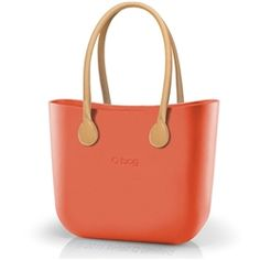 O bag Classic in Papaya with Natural Long Real Leather Handles
