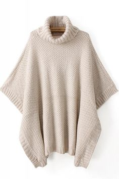 Cheap Pullovers, Buy Directly from China Suppliers:Korean Style new autumn and winter women Beige Cowlneck poncho high neck Bat sleeve Sweaters Turtleneck Women Clothings& Loose Sweater, Poncho Sweater, Pullover Sweaters, Pullover Mode, Vintage Sweaters, Sweater Fashion, Sweater Weather, Style Me, Sweaters For Women