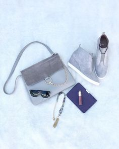 Gray fashion picks for fall; wedge sneakers; Chloe dupe purse