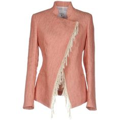Dondup Blazer ($465) ❤ liked on Polyvore featuring outerwear, jackets, blazers, red, red fringe jacket, red blazer jacket, linen blazer, long sleeve jacket and red double breasted blazer