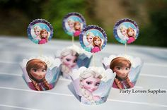 24 set Frozen Elsa and Anna Cupcake Wrappers & Toppers Picks Party Supplies  #PartySupplies #BirthdayChild