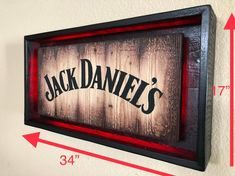Rustic JACK DANIEL'S Light Up Sign Hand Made -Hand Painted Rustic Whiskey signs. All materials are from reclaimed pallet wood Actual sign Offered in 2 different colors: Diy Pallet Furniture, Diy Furniture Projects, Woodworking Projects Diy, Diy Wood Projects, Billard Design, Jack Daniels Decor, Diy Wood Signs, Rustic Signs, Light Up Signs