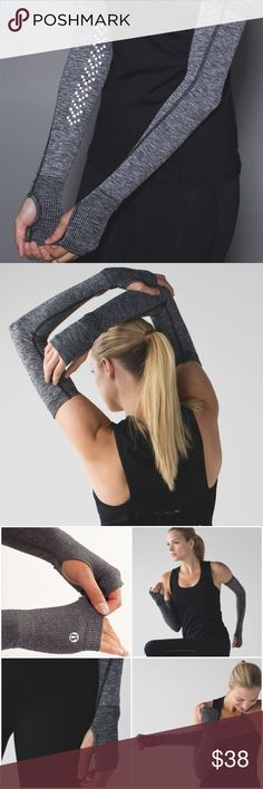 Lululemon Swiftly Arm Warmers in Heathered Black brand new in package Lululemon Swiftly Arm Warmers in Heathered Black. These must have anti-stink arm warmers are perfect when it's too warm for a jacket. Made with no-slip silicone grip at the top and reflective details, breathable and sweat-wicking fabric helps keep you feeling cool. Awesome thumbholes and silicone grips at the top help keep your arm warmers in place. lululemon athletica Accessories