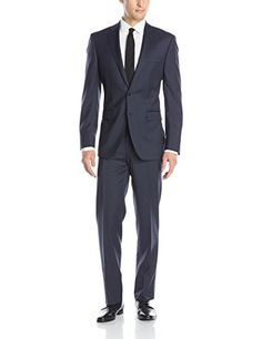 Calvin Klein Men's Marbry Cross Stitch Side Vent Suit with Flat Front Pant