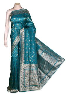 Buy Green Pure Silk Banarasi Saree (CODE:VNS0020082) online from India - IndusDiva.com
