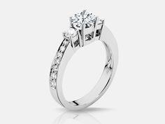 Lux Bond & Green | Naledi Melissa Style Three-Stone Engagement Ring in 18k…