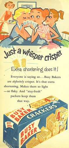 Busy Baker Crackers 1950's advertisement