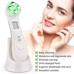 Say Goodbye to Fine Lines & Wrinkles Instantly!Our 5 in 1 LED Light Therapy Skin Tightening Device is a new skin care device that uses radio-frequency waves and light photon energy to promote muscle stimulation within the skin to create vi. Shrink Pores, Sagging Skin, Wrinkle Remover, Younger Looking Skin, Skin Tightening, Facial Skin Care, Face Skin, Anti Aging, Cleaning