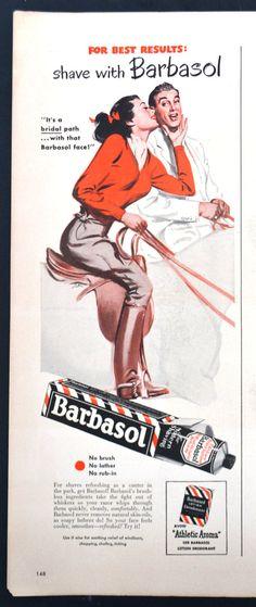 "1949 Barbasol Shaving Cream Vintage Print Ad - Horseback Riding - ""Bridal"" path"