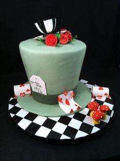 Alice in wonderland mad hatter cake- love the cake board! Mad Hatter Cake, Mad Hatter Tea, Mad Hatters, Bridal Shower Desserts, Tea Party Bridal Shower, Party Desserts, Master Baker, Fondant, 3rd Birthday Cakes