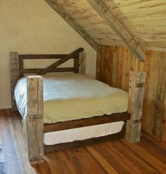 Reclaimed timbers used to make bed to match new home