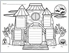 """Haunted House Story Elements"" Graphic Organizer free printable"