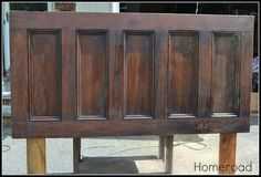 homeroad: Old Door Headboard -- used 1x6 legs and drilled holes for the frame