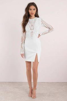 Harlequin Romance White Sequin Bodycon Dress
