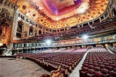 Uptown Theatre in Chicago. Photograph by Eric Holubow in Chicago Magazine. Chicago Movie, Theater Chicago, Movie Theater, Abandoned Buildings, Abandoned Places, Chicago Entertainment, Urban Decay Photography, Chicago Magazine, Urban Exploration