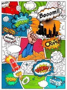 Comic book page divided by lines with speech bubbles, rocket, superhero and sounds effect. Retro background mock-up. Wallpaper Pop Art, Geometric Wallpaper Murals, Embossed Wallpaper, Comic Book Pages, Comic Books, Comic Book Style, Bd Pop Art, Comic Book Template, Superhero Template