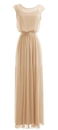 Wedding House,Langen Chiffon Scoop Neck Brautjungfernkleider Abendkleider mit Gurt PPC5: Amazon.de: Bekleidung