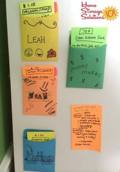 Add chore cards to pockets with magnets on the fridge, to make sure kids do mandatory chores {featured on Home Storage Solutions 101}
