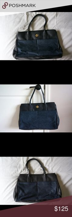 Tory Burch Navy/Black Tote Chic Tory Burch tote with navy flannel and black leather exterior. Great for a fall/winter bag or briefcase! Complete with several interior compartments and a divided interior for organization! Gently used - flannel shows slight wear. Fits a laptop, folders, and accessories. Tory Burch Bags Totes