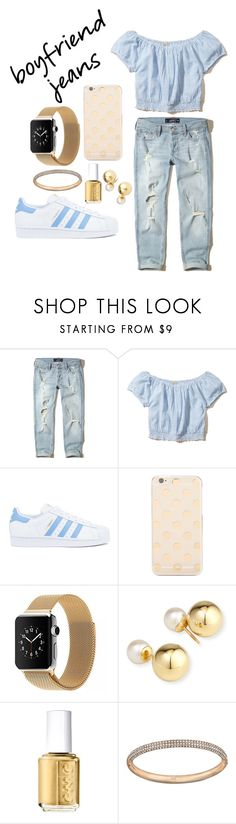 """""""Boyfriend Jeans"""" by calico2017 ❤ liked on Polyvore featuring Hollister Co., adidas, Kate Spade, Yoko London, Essie and Swarovski"""