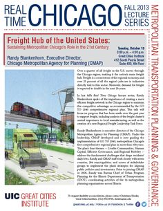 Hear CMAP's Randy Blankenhorn talk UIC Great Cities Institute on sustaining the region's role as U.S. freight hub Tuesday 10.15, 3:00 P.M. http://cmap.is/15YPn6z