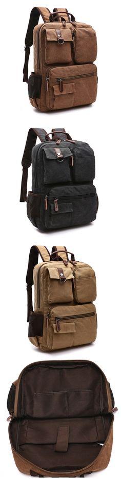 Men's Vintage Canvas School Backpack Laptop Backpack School Book Bag Bagail.com